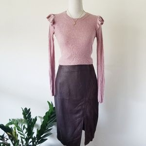 White House Black Market Leather Suede Brown Skirt